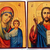 Icons handmade. Livemaster - original item Wedding couple, hand-written icons of the Lord and the virgin Mary. Handmade.