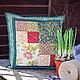 Подушка наволочка лоскутная Кантри зеленая подарок для дома и дачи