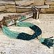 Колье зеленого цвета камней под Изумруд авторское украшение ожерелье купить в интернете