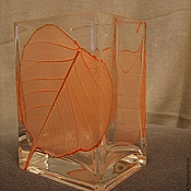 Для дома и интерьера ручной работы. Ярмарка Мастеров - ручная работа Ваза стеклянная Листопад. Handmade.