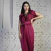 Одежда handmade. Livemaster - original item Raspberry party dress long satin dress fuchsia. Handmade.