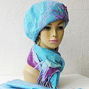 Аксессуары ручной работы. Ярмарка Мастеров - ручная работа Фиалки посреди зимы комплект  берет валяный шарф и варежки валяные. Handmade.