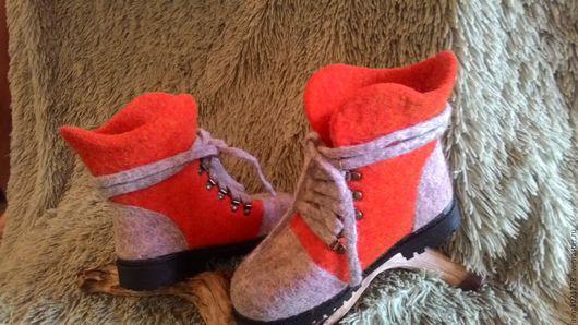 Обувь ручной работы. Ярмарка Мастеров - ручная работа. Купить Валяные ботинки. Handmade. Рыжий, ботинки валяные, обувь валяная