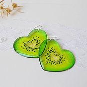 Украшения handmade. Livemaster - original item Transparent Earrings Green Kiwi Hearts. Handmade.