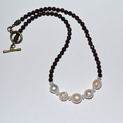 Украшения handmade. Livemaster - original item Necklace of garnet with pearls. Handmade.