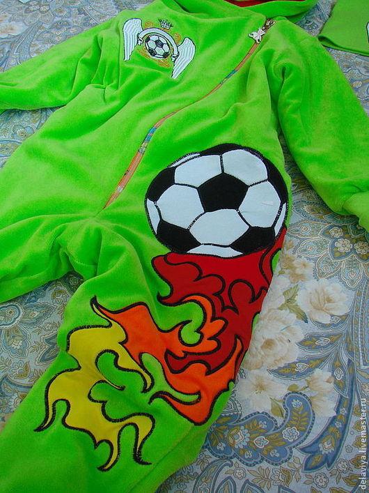 """Одежда ручной работы. Ярмарка Мастеров - ручная работа. Купить Комбинезон утепленный """"Mad football"""" от Делавьи. Handmade. Ярко-зелёный"""