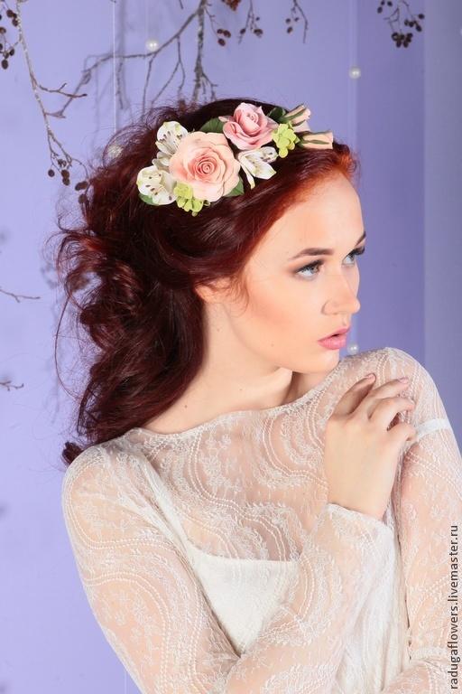 Свадебные украшения ручной работы. Ярмарка Мастеров - ручная работа. Купить Ободок из цветов в прическу невесты в стиле Ботаник. Handmade.