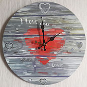 Для дома и интерьера handmade. Livemaster - original item Clock handmade on a wooden base, hand-painted, heart, Board. Handmade.
