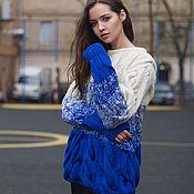 Одежда ручной работы. Ярмарка Мастеров - ручная работа Вязаный свитер с градиентом от KESLOVE электро-беый. Handmade.