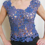 Одежда ручной работы. Ярмарка Мастеров - ручная работа Топ кружевной  в синих тонах. Handmade.