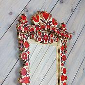 """Для дома и интерьера ручной работы. Ярмарка Мастеров - ручная работа Зеркало настенное в деревянной расписной раме """"Краса Севера"""". Handmade."""