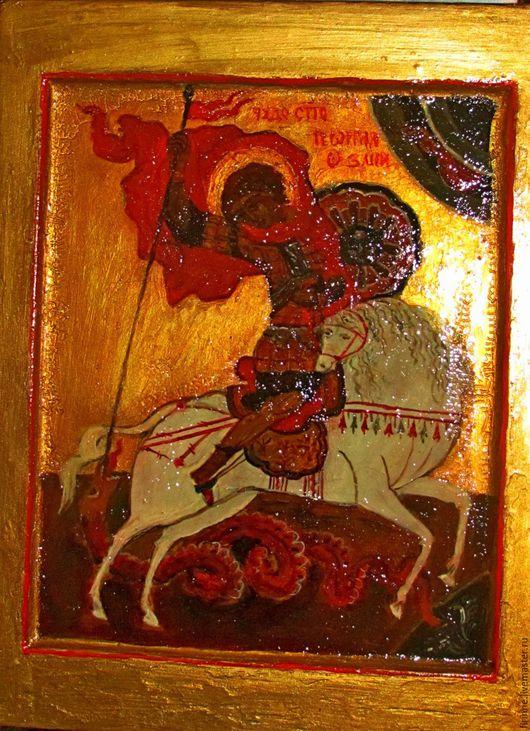 Иконы ручной работы. Ярмарка Мастеров - ручная работа. Купить Икона Святой Георгий. Handmade. Икона в подарок, яичная темпера