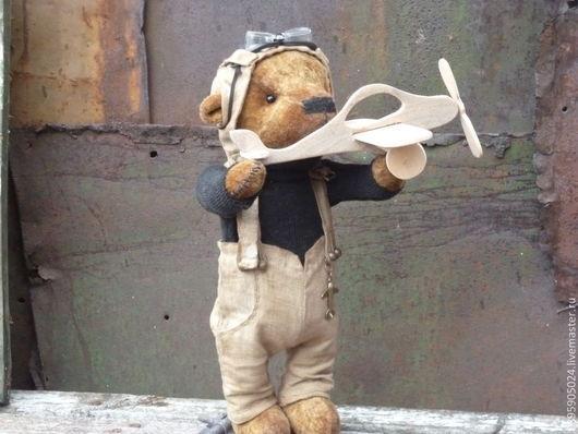 Мишки Тедди ручной работы. Ярмарка Мастеров - ручная работа. Купить мишка пилот с самолётиком. Handmade. Коричневый, авторская игрушка