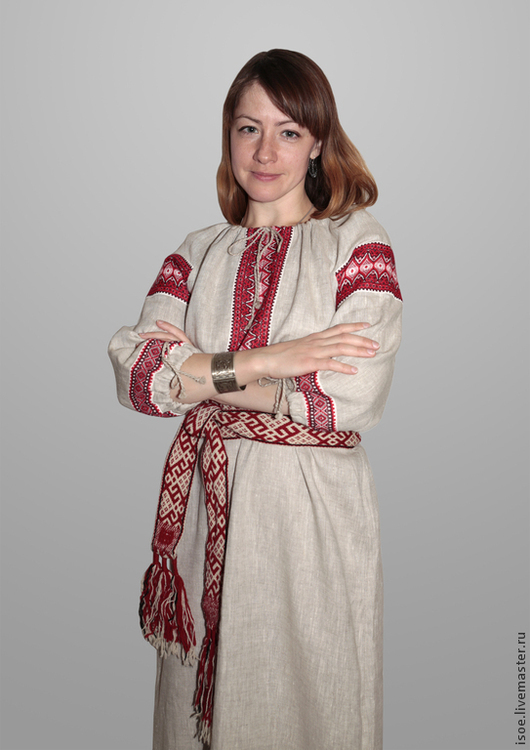 Одежда ручной работы. Ярмарка Мастеров - ручная работа. Купить Славянская народная рубаха женская 1 (серый лен с красным орнементом)). Handmade.