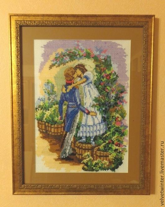 """Люди, ручной работы. Ярмарка Мастеров - ручная работа. Купить Вышивка крестиком """"Первый поцелуй"""". Handmade. Картина крестиком"""