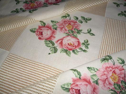 """Текстиль, ковры ручной работы. Ярмарка Мастеров - ручная работа. Купить Скатерть """"Царственные розы"""". Ручная вышивка.. Handmade."""