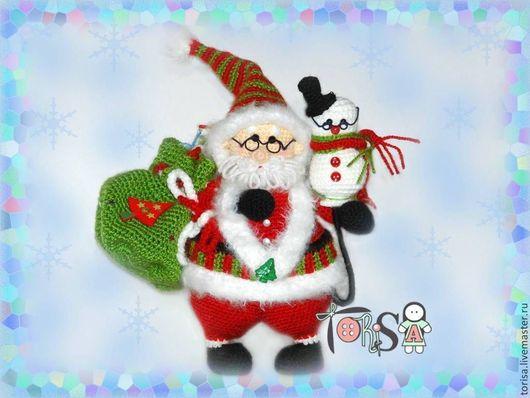 Сказочные персонажи ручной работы. Ярмарка Мастеров - ручная работа. Купить Санта и снеговичок. Handmade. Ярко-красный, вязанный санта