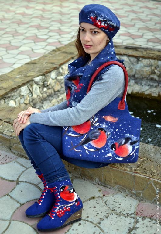 """Обувь ручной работы. Ярмарка Мастеров - ручная работа. Купить Комплект валяный """"Снегири"""". Handmade. Ботинки, женская обувь, весна"""
