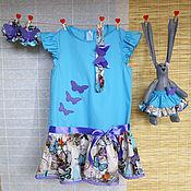 Работы для детей, ручной работы. Ярмарка Мастеров - ручная работа Голубое платье из хлопка для девочки + зайка + банты. Handmade.