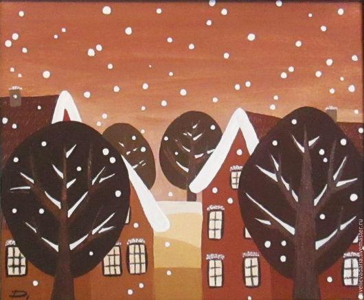 """Пейзаж ручной работы. Ярмарка Мастеров - ручная работа. Купить Картина в раме """"Зима пришла!"""". Handmade. Комбинированный, Снег, город"""