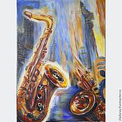 """Картины и панно ручной работы. Ярмарка Мастеров - ручная работа Картина """"Джаз в городе небоскрёбов"""". Handmade."""