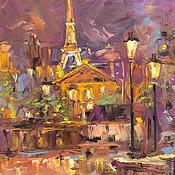 Картины и панно handmade. Livemaster - original item Oil painting on canvas. The Lights Of Paris!. Handmade.