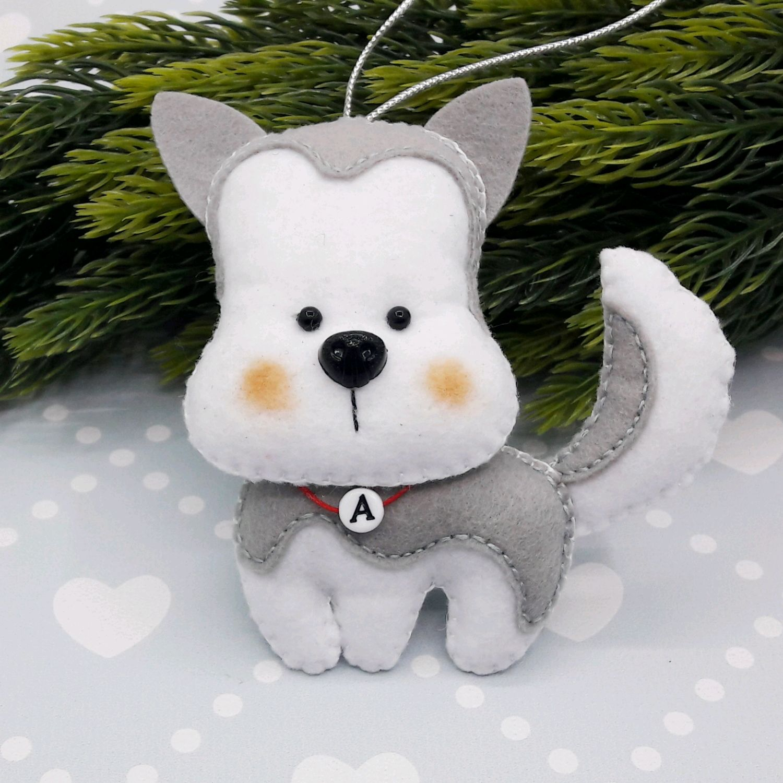Puppies. The dog felt. Husky, Christmas decorations, Chekhov,  Фото №1