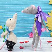Мягкие игрушки ручной работы. Ярмарка Мастеров - ручная работа Интерьерная игрушка, влюбленная пара мышек. Handmade.