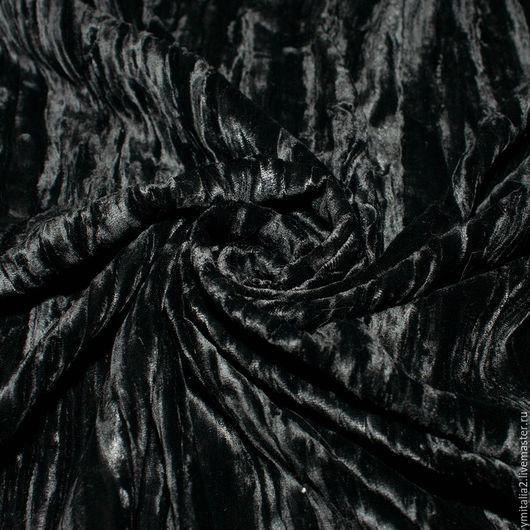 Шитье ручной работы. Ярмарка Мастеров - ручная работа. Купить Бархат шелковый ARMANI PRIVEE черный. Handmade. Купить бархат