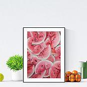 Картины и панно handmade. Livemaster - original item Watercolor Watermelon slices Picture with fruit. Handmade.