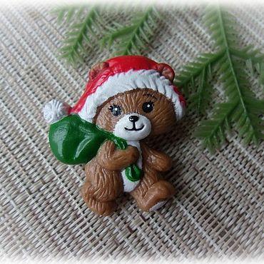 """Винтаж ручной работы. Ярмарка Мастеров - ручная работа RUSS Брошь """"Мишка Санта-Клаус"""". Handmade."""