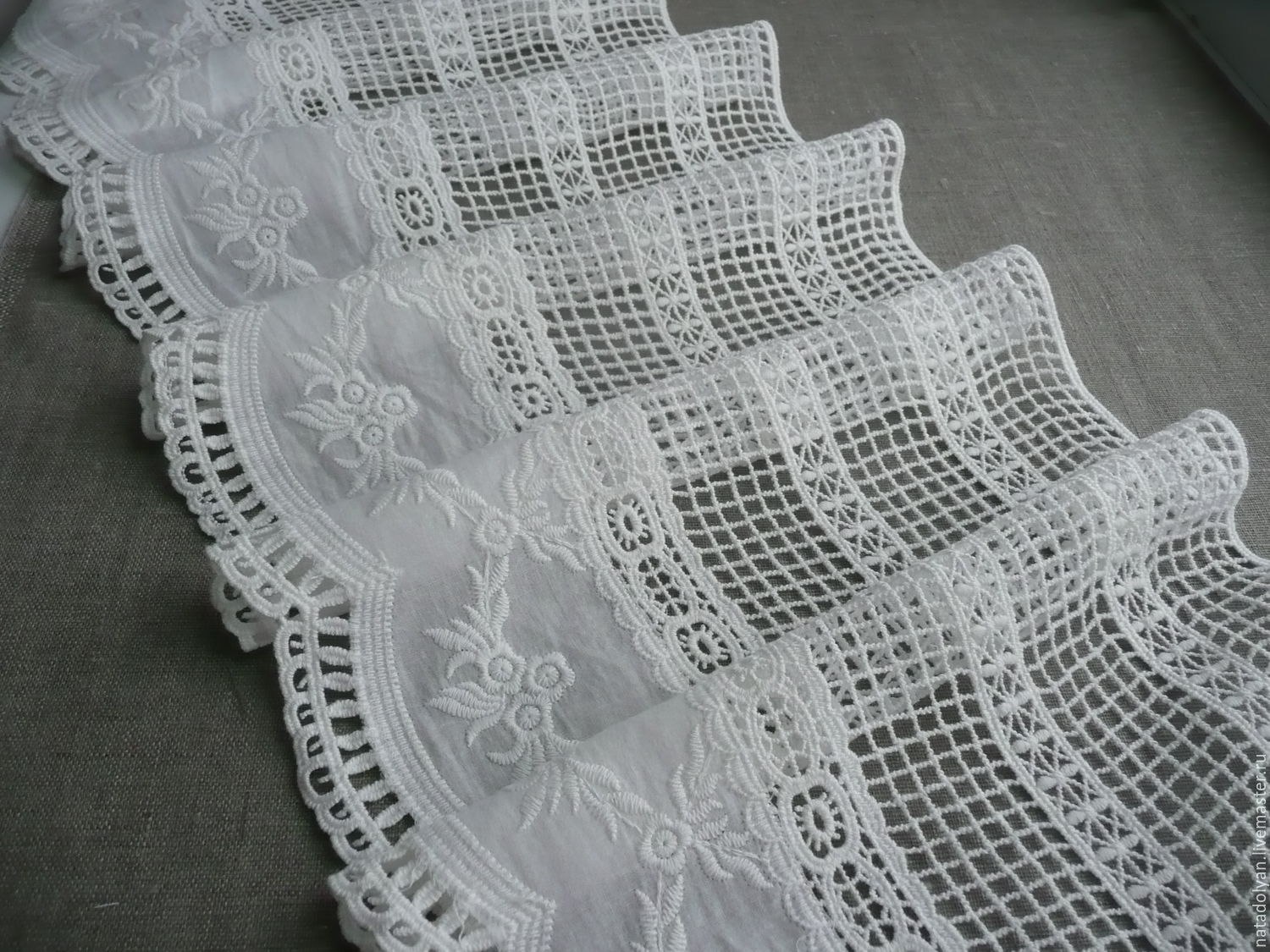 Lace, cotton 'Frill with wide mesh', 26 cm, Lace, Ivanovo,  Фото №1