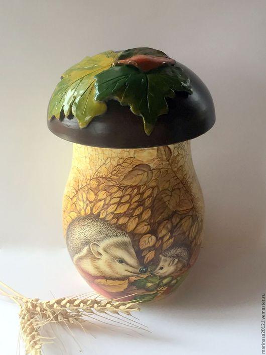 """Корзины, коробы ручной работы. Ярмарка Мастеров - ручная работа. Купить """" Осенние Ёжики"""" Короб. Handmade. Короб гриб"""
