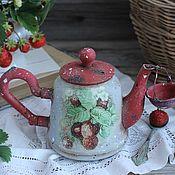 """Для дома и интерьера ручной работы. Ярмарка Мастеров - ручная работа """"Чай с земляникой"""" чайничек+ситечко. Handmade."""