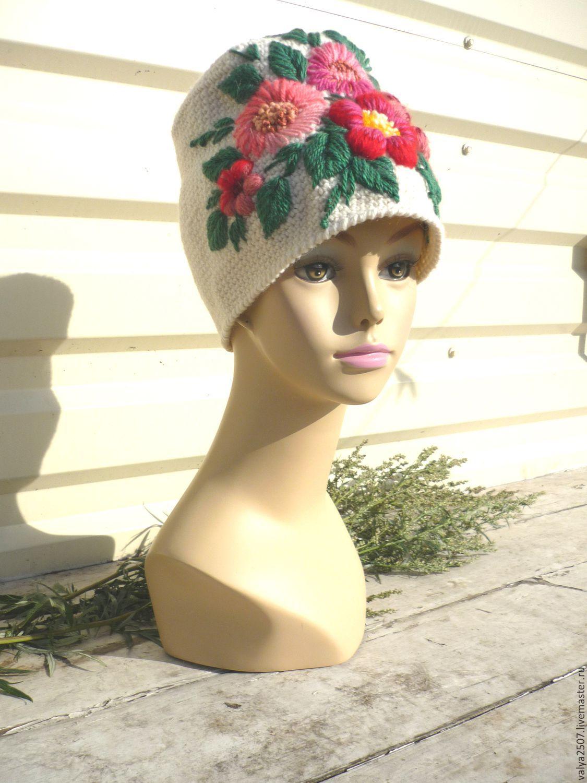 Вышивка на женских шапках