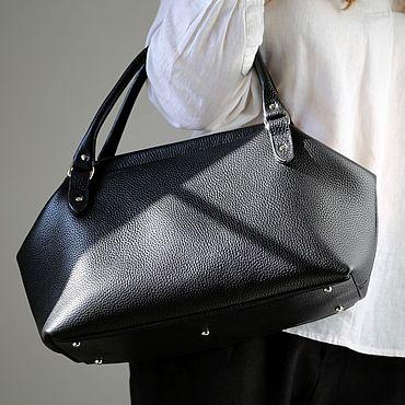 Bags and accessories handmade. Livemaster - original item Bag made of genuine leather deep black art. Four hundred ninety. Handmade.