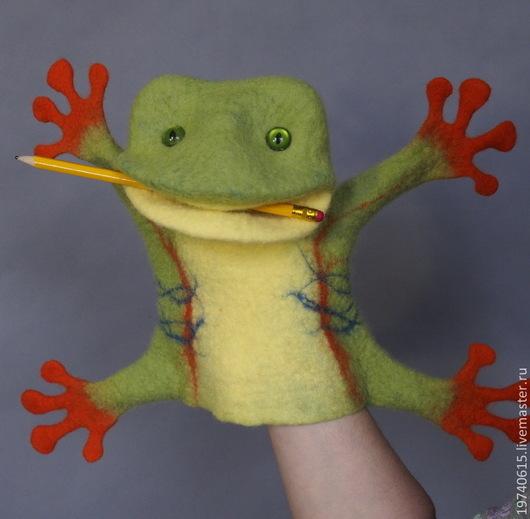 Кукольный театр ручной работы. Ярмарка Мастеров - ручная работа. Купить Тропическая лягушка. Перчаточная кукла. Би-Ба-Бо.. Handmade.