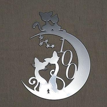 """Для дома и интерьера ручной работы. Ярмарка Мастеров - ручная работа Номер на входную дверь """"Луна, Сфинксики."""". Handmade."""