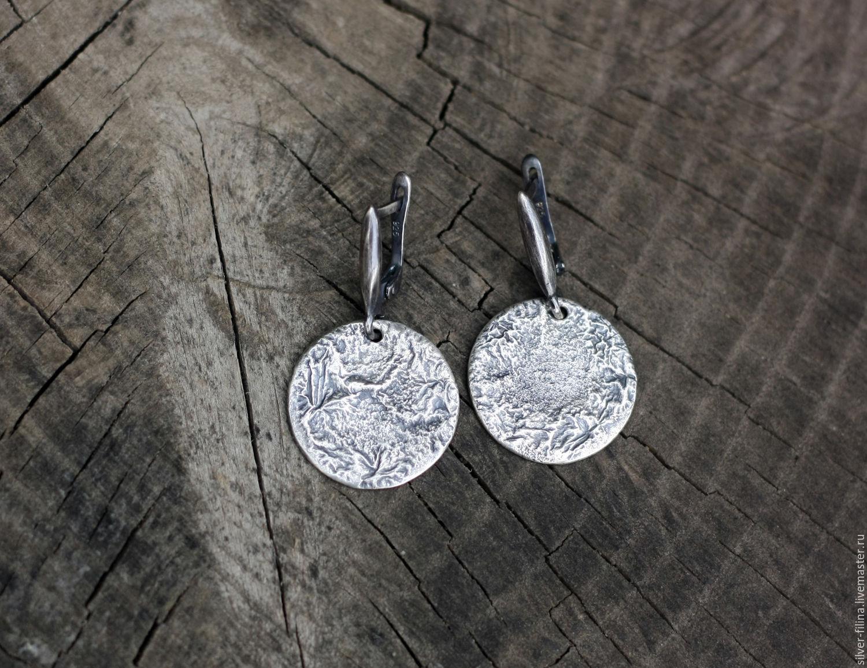 """Серьги ручной работы. Ярмарка Мастеров - ручная работа. Купить серьги """"Луна"""", серебро. Handmade. Серьги, горы, необычные серьги"""