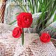 """Комплекты украшений ручной работы. Ярмарка Мастеров - ручная работа. Купить кольцо и серьги из полимерной глины """"Красные розы"""". Handmade."""