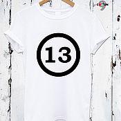 Одежда handmade. Livemaster - original item White cotton t-shirt with print - TEE10122CT. Handmade.