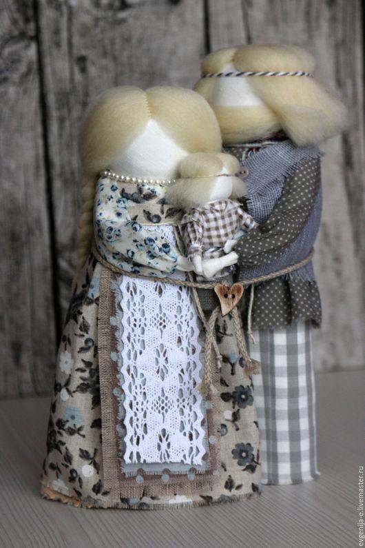 """Народные куклы ручной работы. Ярмарка Мастеров - ручная работа. Купить """"Неразлучники"""" семейный оберег. Handmade. Серый, семейный подарок"""