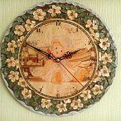 """Для дома и интерьера ручной работы. Ярмарка Мастеров - ручная работа Часы """"Мишка в шиповнике"""". Handmade."""