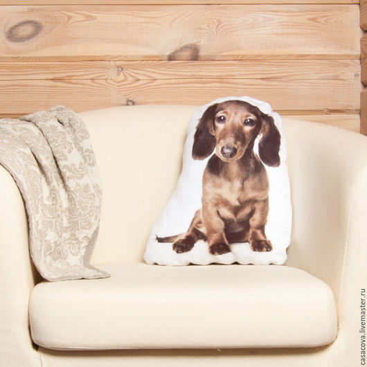 Текстиль, ковры ручной работы. Ярмарка Мастеров - ручная работа. Купить Подушка Такса – декоративная льняная подушка в виде собаки. Handmade.