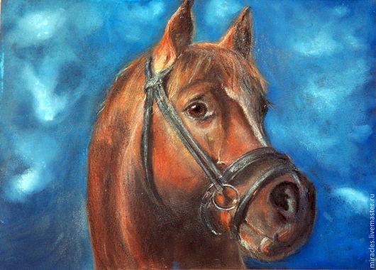 """Животные ручной работы. Ярмарка Мастеров - ручная работа. Купить Картина пастелью """"Гнедой"""". Handmade. Символ 2014 года, лошадь"""