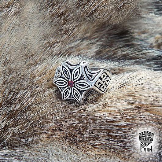 Кольцо серебряное Щит мужское женское подарок мужчине женщине
