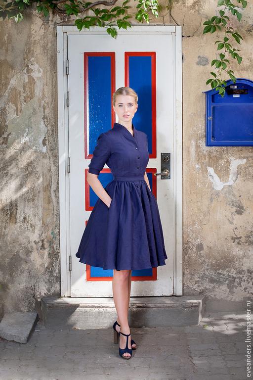 Платья ручной работы. Ярмарка Мастеров - ручная работа. Купить Berta - льняное платье цвета индиго. Handmade. Тёмно-синий