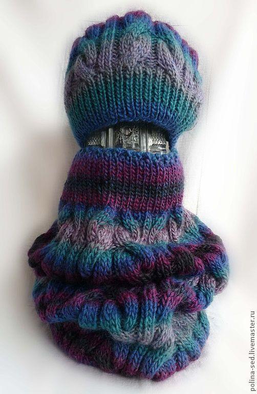"""Комплекты аксессуаров ручной работы. Ярмарка Мастеров - ручная работа. Купить Комплект шапка + шарф-снуд """"Морозное утро"""". Handmade."""