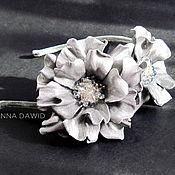Украшения handmade. Livemaster - original item Leather flowers. Hair band