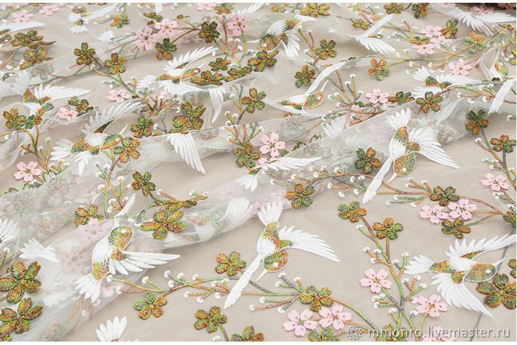Exquisite 3D embroidery on mesh, warblers, Fabric, Podolsk,  Фото №1